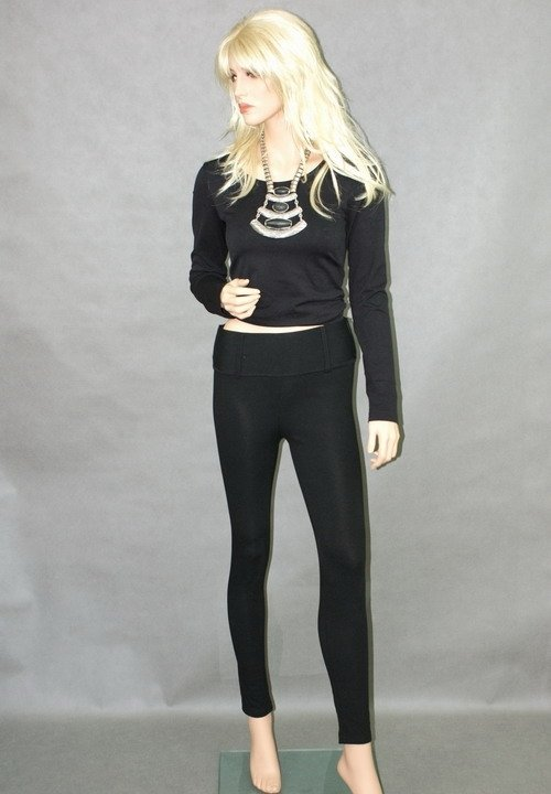 STYLING spodnie wąskie z dzianiny z szerokim pasem wyszczuplające tregginsy czarne