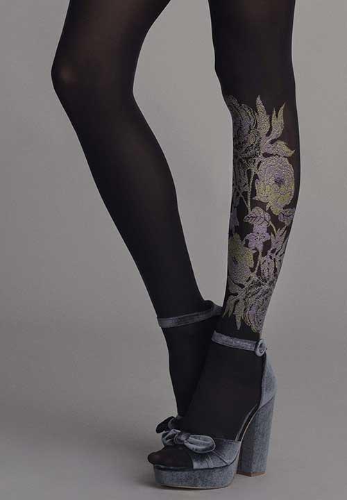 BLOOMING DAY rajstopy z kwiatami na jednej nogawce, czarne, 40 den
