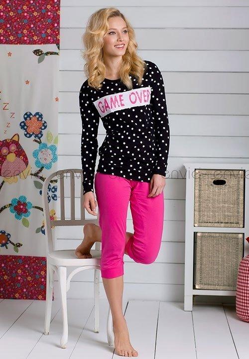 PUNTI BLACK piżama w kropeczki, czarna bluzka + różowe spodnie, bawełna