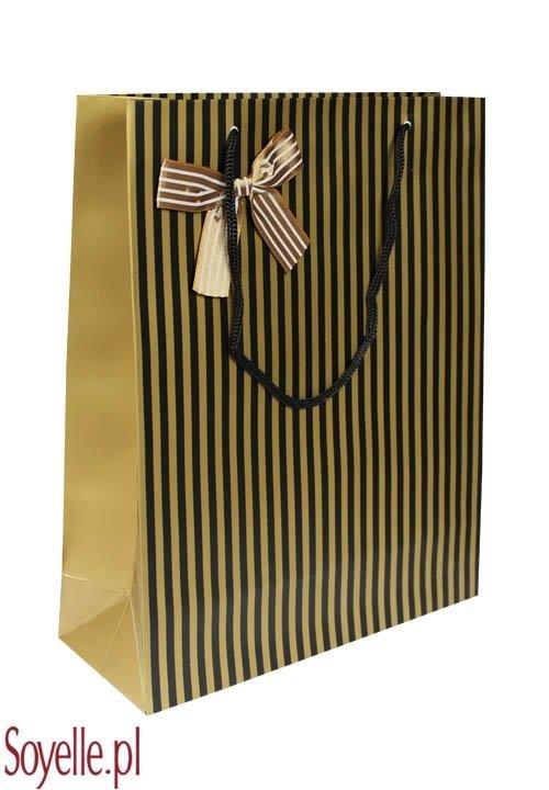 GIFT STRIPES 02 torebka prezentowa duża, na sznureczkach, czarna w złote paseczki