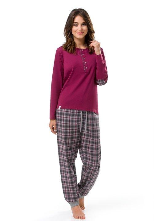 BUNNY POLO piżama z długim rękawem i spodniami, bordowa z szarym wykończeniem