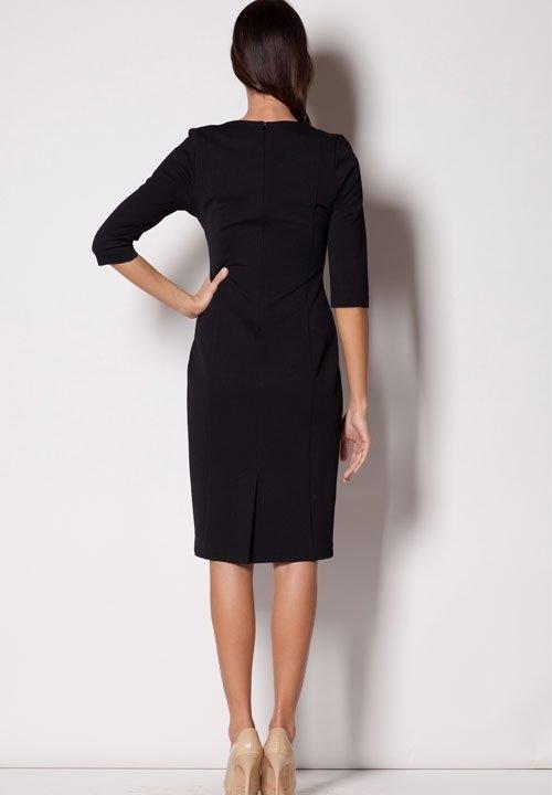M228 czarna sukienka z wzorzystą wstawką