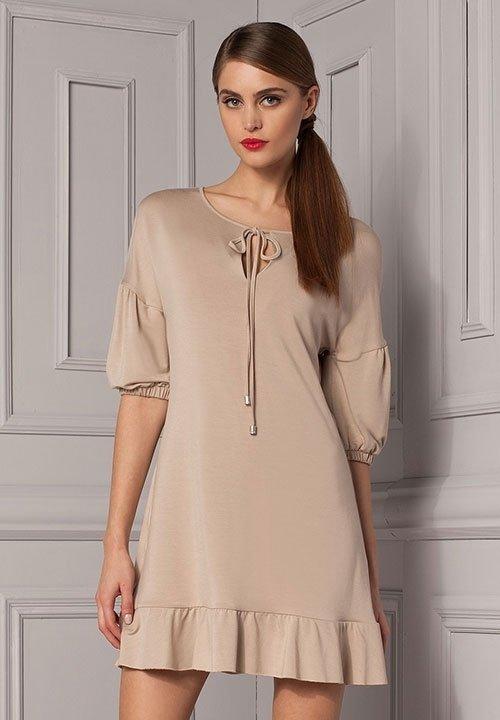 ROSE DRESS beżowa sukienka z falbankami, wiskoza, Gatta, wiosenna kolekcja