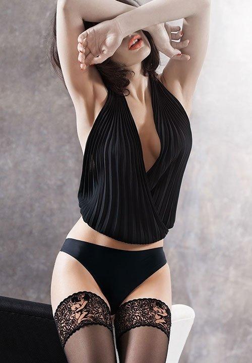 ARS AMANDI 01 pończochy samonośne z koronką - seksowny wzór