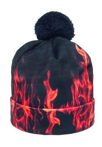 FIRE czarna czapka z płomieniami