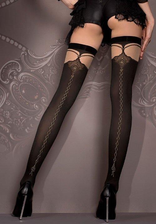 BALLERINA 417 czarne pończochy do pasa, ze zdobieniami z tyłu nóg