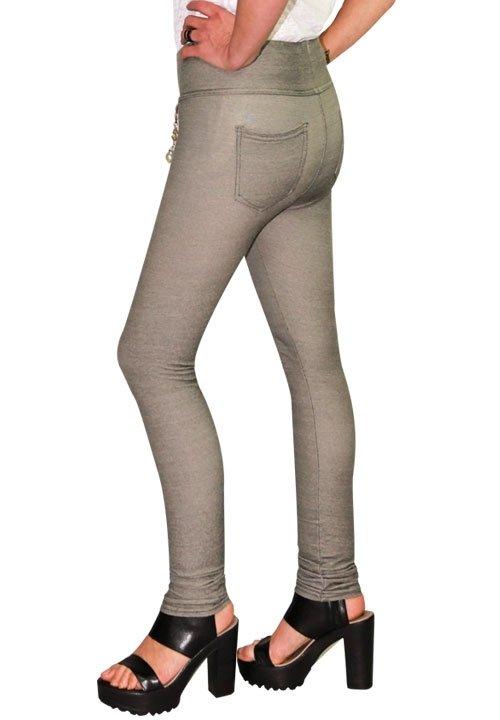 DJUK 05 szare spodnie z kieszeniami z tyłu, dopasowane jak legginsy