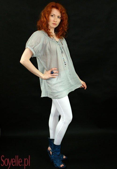 BLUE STONE luźna bluzeczka z bawełny, ozdobne wstawki