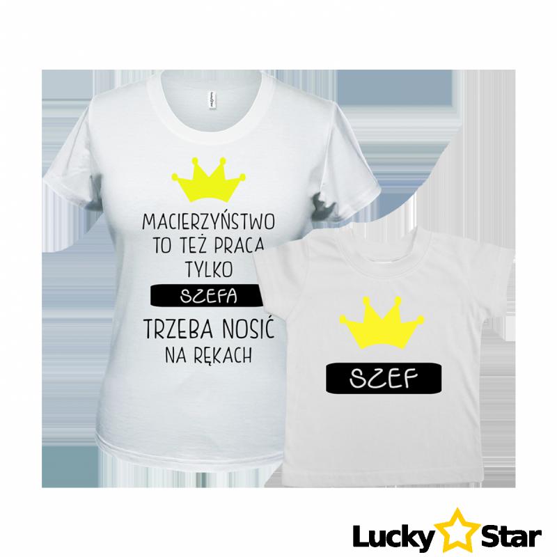 Zestaw koszulek mama i syn SZEFA trzeba nosić na rękach