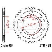 Zębatka tylna stalowa JT 498-44, 44Z, rozmiar 525 2300828 Kawasaki W 650