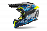 AIROH KASK OFF-ROAD AVIATOR 3 WAVE SILVER GLOSS