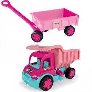 Gigant Truck wywrotka z przyczepą pink  Wader (65006 + 10958)
