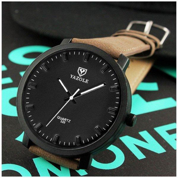Zegarek męski yazole czarna tarcza brązowy pasek ZM146CZBR
