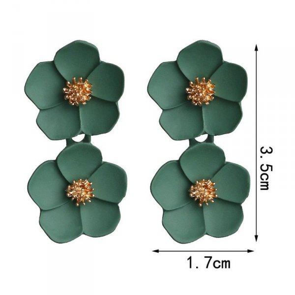 Kolczyki wiszące duże kwiaty K1262ZO