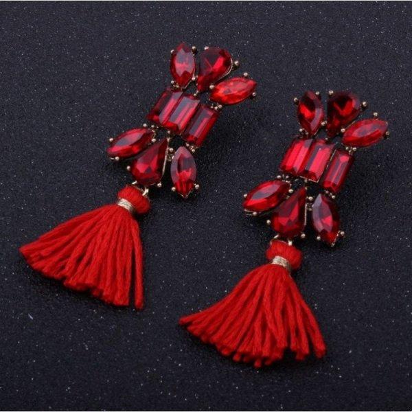 Kolczyki chwosty zdobione kryształ czerwone K631CZE