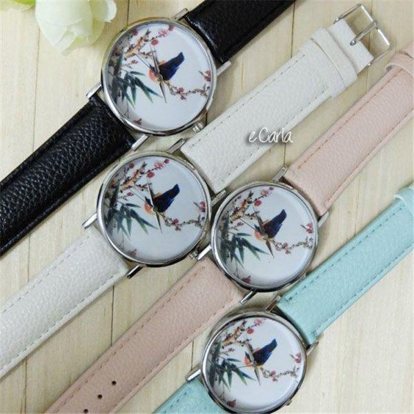 Zegarek kanarek na gałęzi Z134, Kolor: Biały