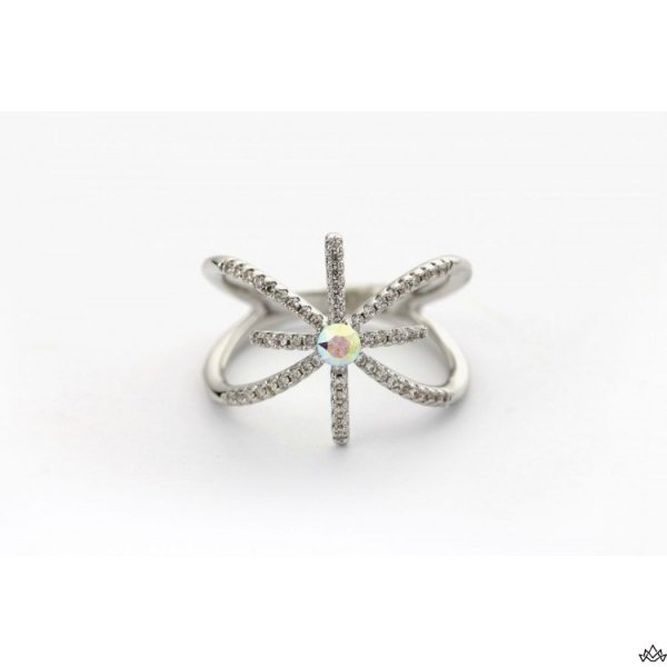 PIERŚCIONEK KRYSZTAŁEK SWAROVSKI STAL PLATEROWANA BIAŁYM ZŁOTEM PST455, Rozmiar pierścionków: US6 EU11