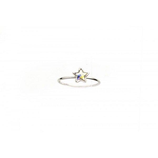 PIERŚCIONEK KRYSZTAŁEK SWAROVSKI STAL PLATEROWANA BIAŁYM ZŁOTEM PST459, Rozmiar pierścionków: US6 EU11
