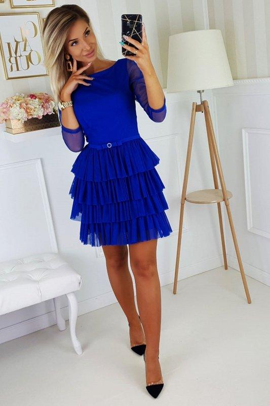 sukienka z tiulowymi falbanami