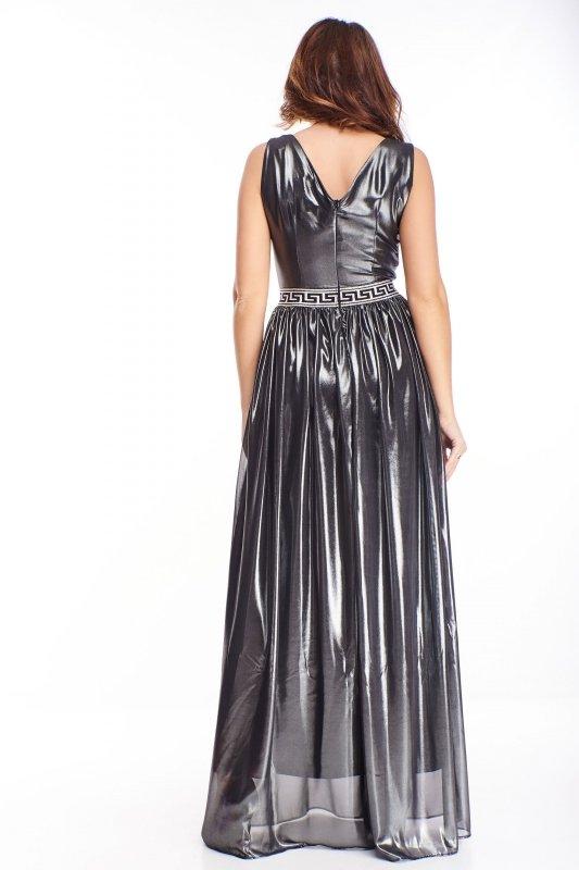 wieczorowa sukienka maxi z drapowaniami przy biuście