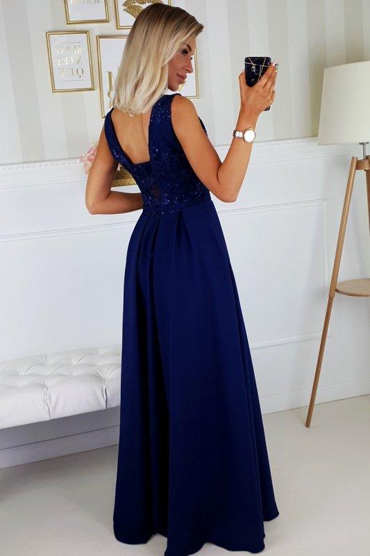 wieczorowa sukienka maxi z haftowaną górą i cekinami