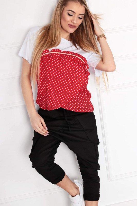 bluzka z łączonych materiałów z falbanką na biuście