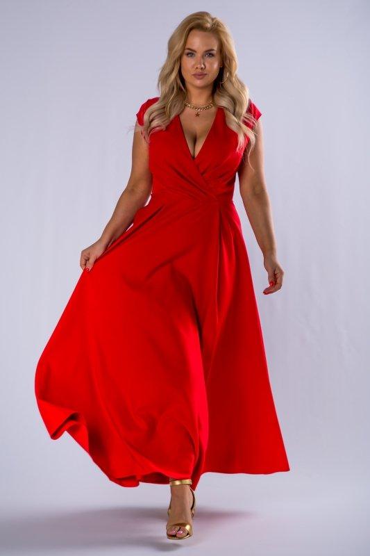 elegancka sukienka maxi z kopertowym dekoltem