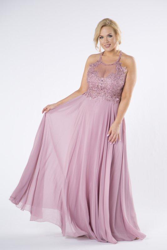 tiulowa sukienka z błyszczącymi kryształkami i dekoltem typu halter