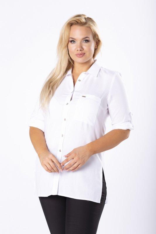 koszula z kieszenią na biuście i podpinanymi rękawami