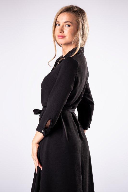 sukienka szmizjerka z wiązaniem  i wydłużonymi bokami