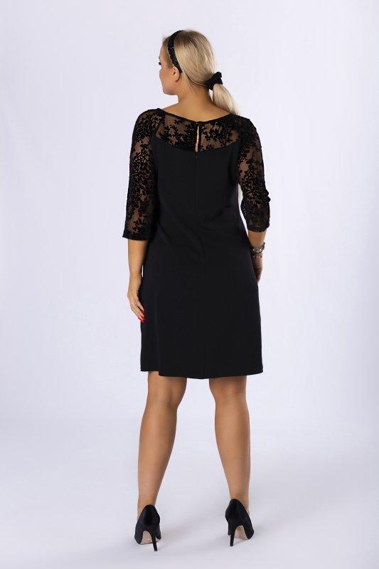 dopasowana sukienka z siateczkową wstawką na rękawach i dekolcie