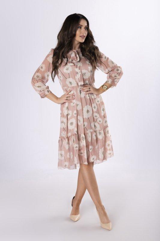 szyfonowa sukienka z wiązaniem
