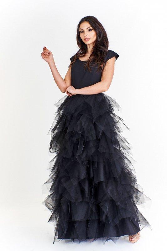 Sukienka maxi z efektowną szyfonową spódnicą