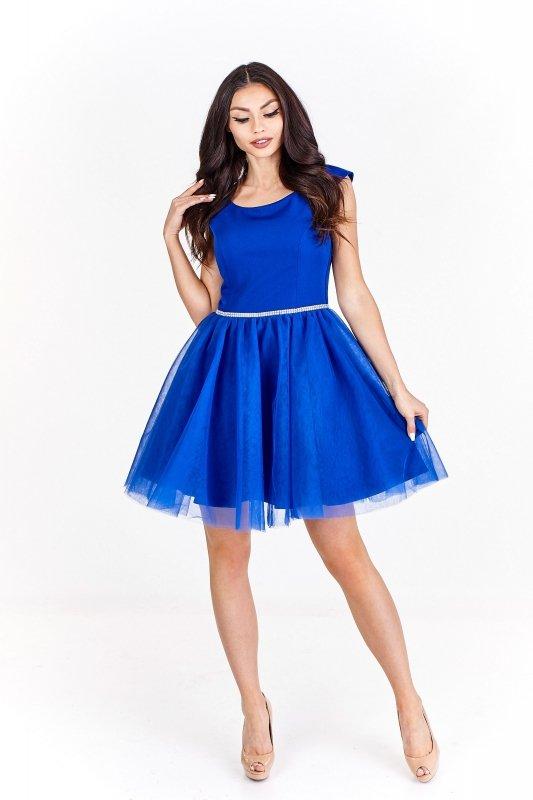 Sukienka koktajlowa z szyfonowym dołem