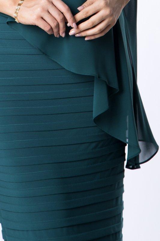 dopasowana sukienka maxi z tiulową narzutką