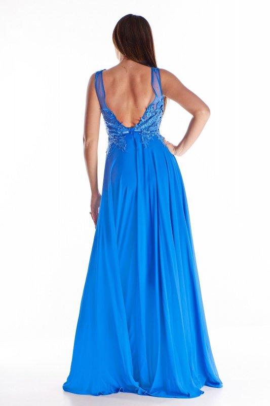 tiulowa sukienka maxi z haftowaną górą