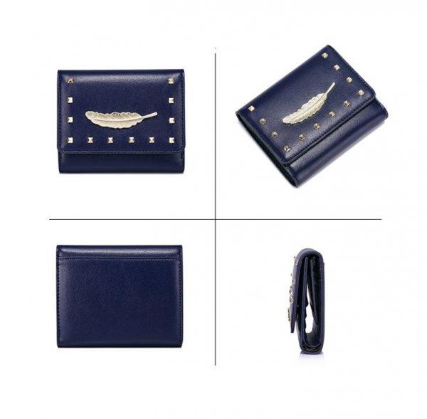 NUCELLE Krótki portfel z piórkiem Niebieski