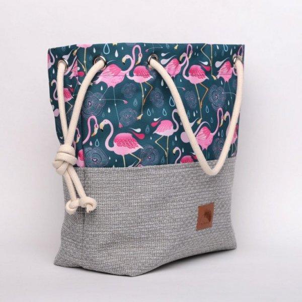 Torebka worek we flamingi i geometryczne wzory - rączki ze sznurka.