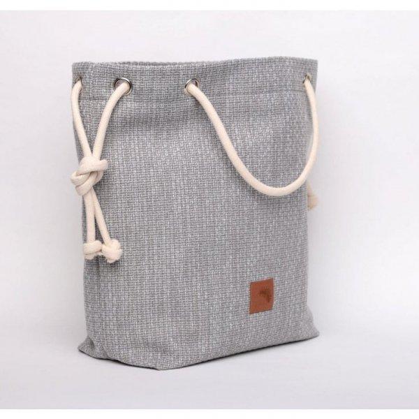 Szara torebka worek z grubej plecionki - rączki ze sznurka.