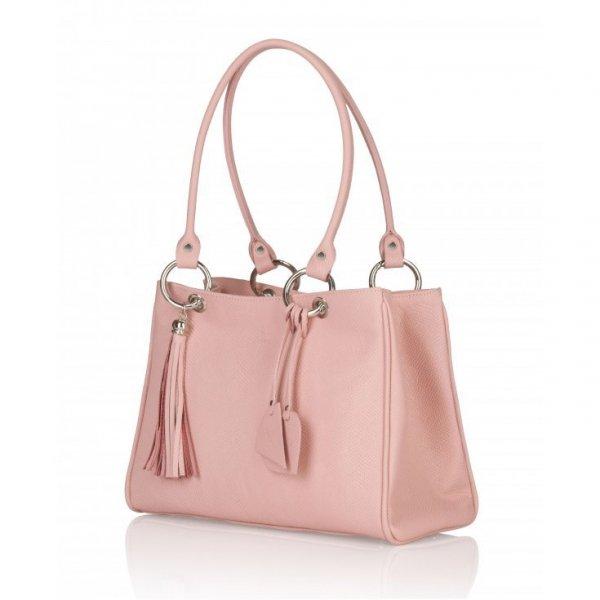 Różowa torebka ze skóry naturalnej