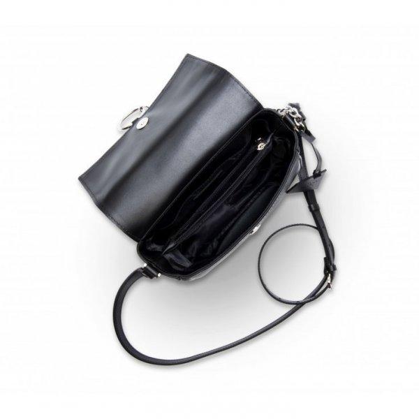 Czarna torebka listonoszka ze skóry naturalnej