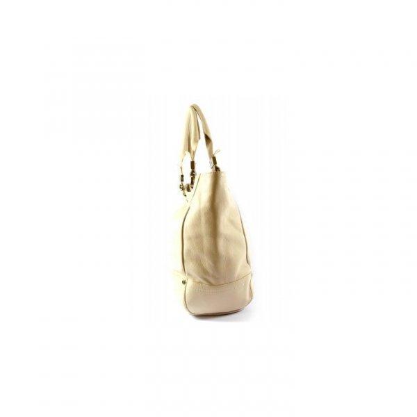 Pojemna skórzana waniliowa torba Gianfranco Ferre