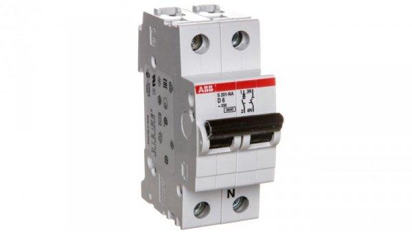 Wyłącznik nadprądowy 1P+N D 6A 6kA AC S201-D6 NA 2CDS251103R0061