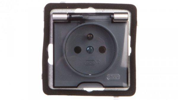 AS Gniazdo bryzgoszczelne z/u IP44 klapka przezroczysta srebro GPH-1GZ/m/18/d