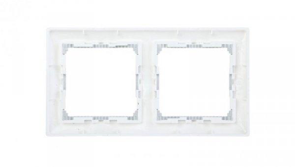 VALENA Ramka podwójna pozioma biała/srebro 770492
