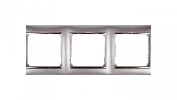 VALENA Ramka potrójna pozioma aluminium/srebro 770353