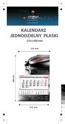 kalendarz jednodzielny Orange Mini, Karton Alaska 250g, Folia błysk jednostronnie, całość 310 x 458 mm, druk pełnokolorowy 4+0, główka płaska, 1 blok kalendarium 3-miesięczne, 290 x 190 mm, okienko - 400 sztuk