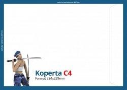 Koperty C4 (324 x 229 mm), Druk jednostronny kolorowy 4+0, Offset 80 g - 100 szt.