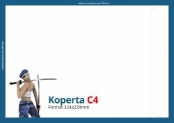 Koperty C4 (324 x 229 mm), Druk jednostronny kolorowy 4+0, Offset 80 g - 250 szt.