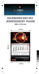 Kalendarz jednodzielny Eko Sky, płaski, druk jednostronny kolorowy (4+0), Folia błysk jednostronnie, Podkład - Karton 300 g, okienko czerwone - 600 sztuk